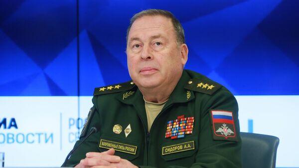 Начальник Объединенного штаба ОДКБ генерал-полковник Анатолий Сидоров во время брифинга в МИА Россия сегодня