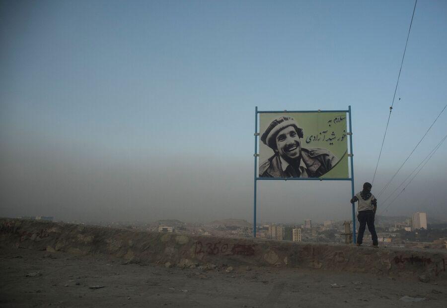 Портрет Ахмад Шаха Масуда на одной из улиц в Кабуле