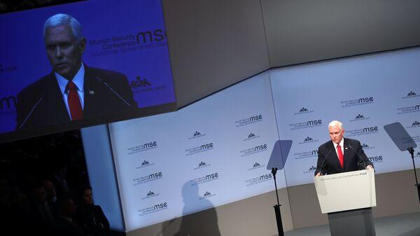 Вице-президент США Майк Пенс во время конференции по безопасности в Мюнхене. 16 февраля 2019