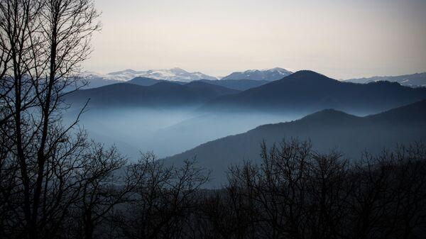 Вид на горы в Майкопском районе в республике Адыгея
