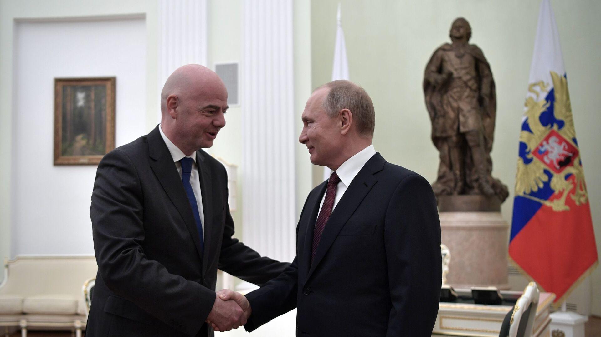 Президент РФ Владимир Путин и президент ФИФА Джанни Инфантино во время встречи - РИА Новости, 1920, 21.06.2021