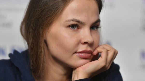 Анастасия Вашукевич (Настя Рыбка) на пресс-конференции