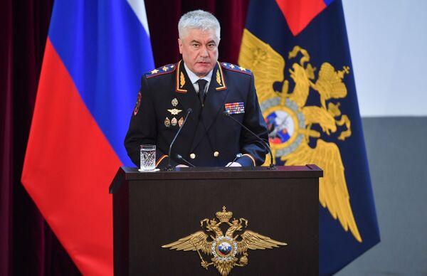 Министр внутренних дел РФ Владимир Колокольцев выступает на ежегодном расширенном заседании коллегии министерства
