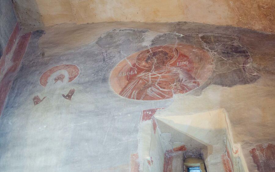 Святой Акакий, фреска в Троицком приделе, храм Спаса Преображения на Ильине улице, Феофан Грек, 1378 г.