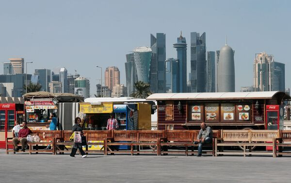 Торговые палатки на старом рынке в Дохе