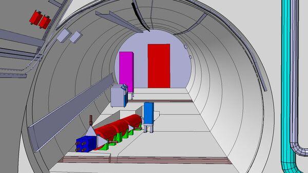 Так художник представил себе детектор FASER в боковом тоннеле БАК