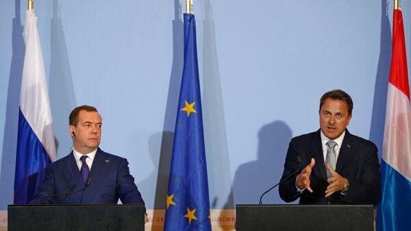 Председатель правительства РФ Дмитрий Медведев и премьер-министр Люксембурга Ксавье Беттель во время совместной пресс-конференции