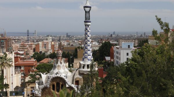 Вид на Барселону из парка Гуэля