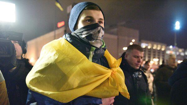 Участники акции по случаю третьей годовщины событий на киевском Майдане