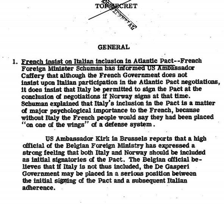 Фрагмент сводки разведки США с сообщением о том, что Франция настаивает на вступлении Италии в НАТО