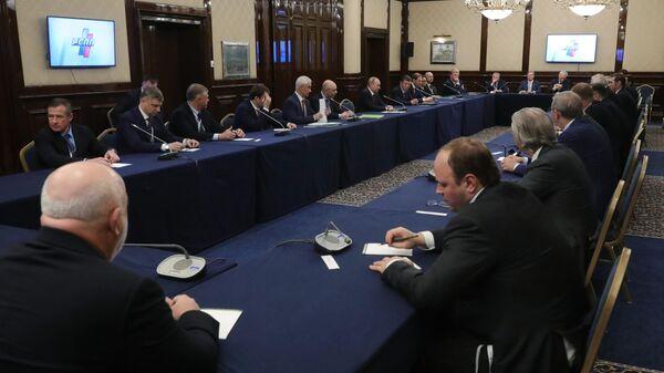Президент РФ Владимир Путин проводит встречу с членами бюро Российского союза промышленников и предпринимателей