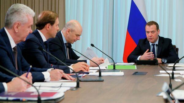 Председатель правительства РФ Дмитрий Медведев проводит совещание по вопросам перевода федеральных органов исполнительной власти в новый правительственный комплекс на территории ММДЦ Москва-Сити