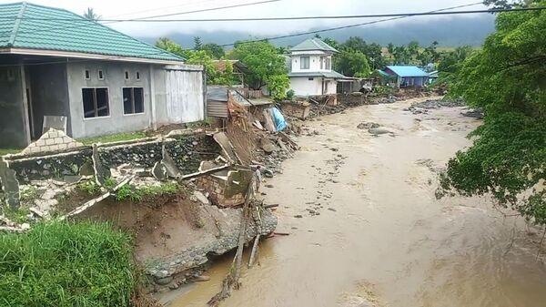 Последствия наводнения в Сентани, провинция Папуа, Индонезия. 17 марта 2019