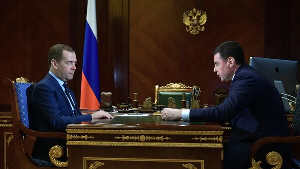 Председатель правительства РФ Дмитрий Медведев и губернатор Ярославской области Дмитрий Миронов во время встречи. 19 марта 2019
