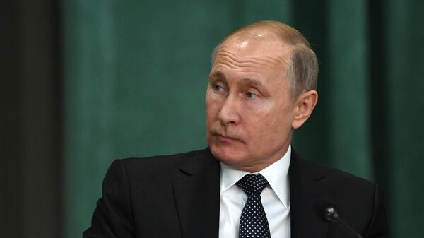 Президент РФ Владимир Путин на расширенном заседании коллегии Генеральной прокуратуры РФ