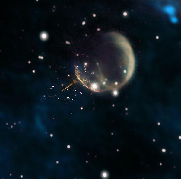 Пузырь древней сверхновой и огненный след пульсара, выброшенного из ее центра в далеком прошлом