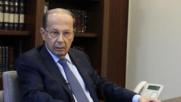 Президент Ливана Мишель Аун во время интервью представителям Российских СМИ