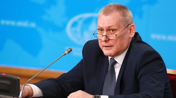 Первый заместитель руководителя аппарата НАК Игорь Кулягин на пресс-конференции, посвященной профилактике терроризма