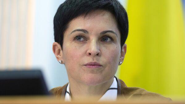 Председатель Центральной избирательной комиссии Украины Татьяна Слипачук во время брифинга в Киеве. 1 апреля 2019