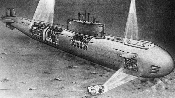 Репродукция рисунка Норвежское море. Атомная лодка Комсомолец, отображающего момент исследования специалистами затонувшей атомной подводной лодки с помощью глубоководного аппарата МИР-I