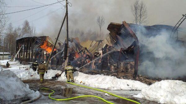 Пожар в поселке Ярега в республике Коми