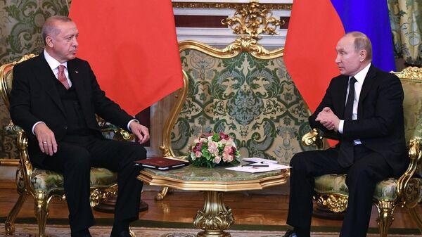 Президент России Владимир Путин и президент Турции Реджеп Эрдоган во время встречи в Москве. 8 апреля 2019