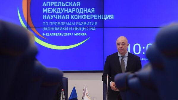 Антон Силуанов во время Апрельской международной научной конференции по проблемам развития экономики и общества. 9 апреля 2019
