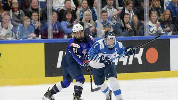Игровой момента матча США  - Финляндия