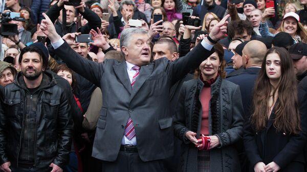 Президент Украины Петр Порошенко на стадионе Олимпийский в Киеве. 14 апреля
