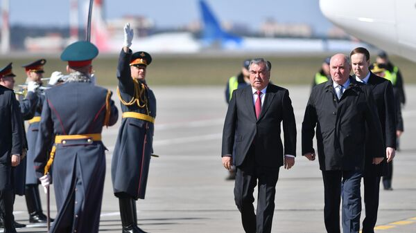 Президент Таджикистана Эмомали Рахмон, во время церемонии встречи в аэропорту Внуково-2. 16 апреля 2019