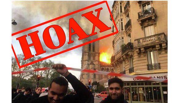 Скриншот новости о фотографии корреспондента Sputnik France, сделанной во время пожара в Нотр-Даме, на сайте dennikn.sk