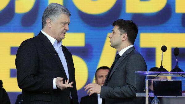 Дебаты кандидатов в президенты Украины Петра Порошенко и Владимира Зеленского