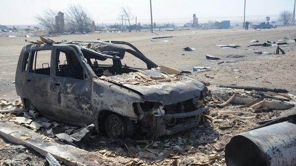 Сгоревший в результате пожара автомобиль в селе Усть-Ималка Ононского района Забайкальского края. Архивное фото