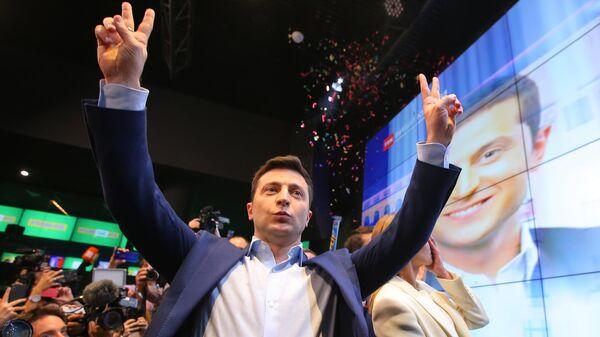 Владимир Зеленский во время объявления итогов голосования второго тура выборов президента Украины