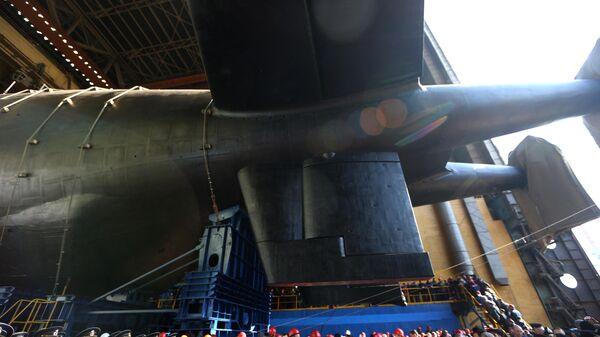 Спуск на воду атомной подводной лодки Белгород в Архангельской области