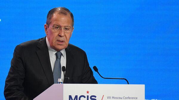 Министр иностранных дел РФ Сергей Лавров выступает на церемонии открытия VIII Московской конференции по международной безопасности. 24 апреля 2019