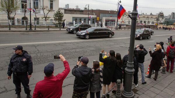 Автомобили кортежа лидера КНДР Ким Чен Ына во Владивостоке