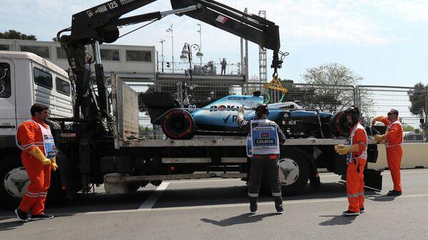 Авария пилота Уильямса Джорджа Расселла на первой практике Гран-при Азербайджана