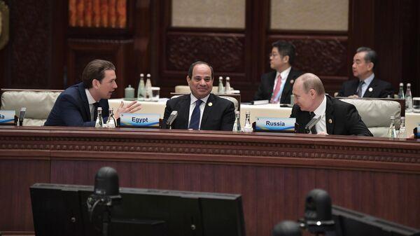 Президент РФ Владимир Путин на первом заседании круглого стола форума международного сотрудничества Один пояс - один путь в Пекине. 27 апреля 2019