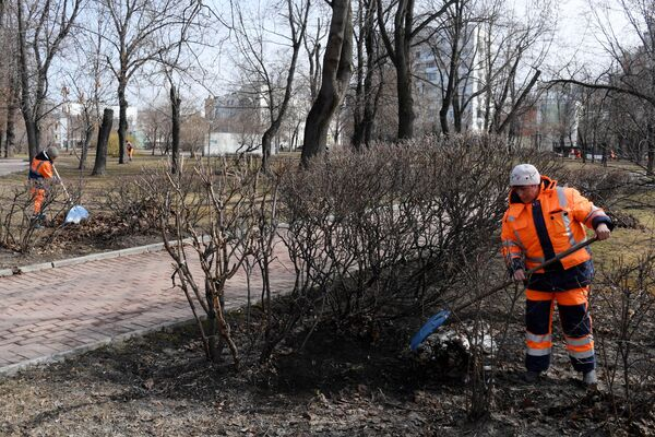 Сотрудники коммунальных служб во время уборки территории в парке Декабрьского восстания в Москве