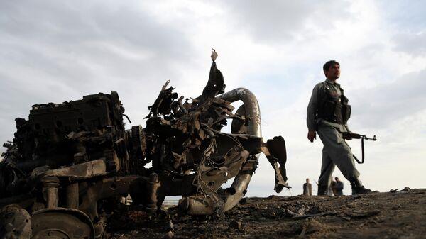 На месте нападения около авиабазы Баграм, Афганистан. 9 апреля 2019