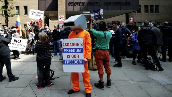 Сторонники Джулиана Ассанжа во время акции протеста у здания суда в Лондоне. 1 мая 2019