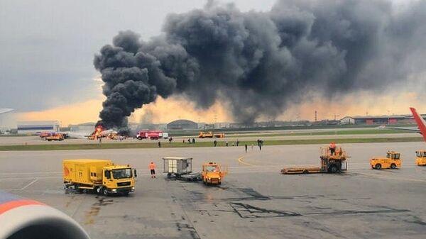 Ликвидация возгорания на борту самолета в аэропорту Шереметьево