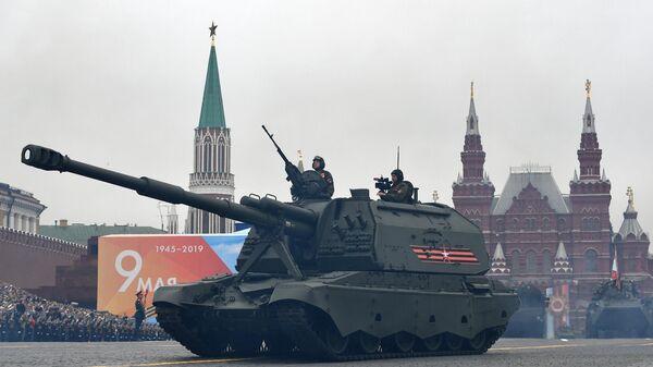 Самоходная артиллерийская установка (САУ) Мста-С на военном параде на Красной площади, посвящённом 74-й годовщине Победы в Великой Отечественной войне