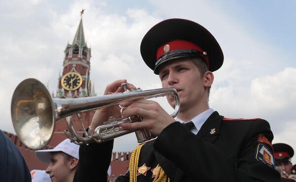 Участник III смотра-конкурса детских духовых оркестров ЦФО на Васильевском спуске в Москве