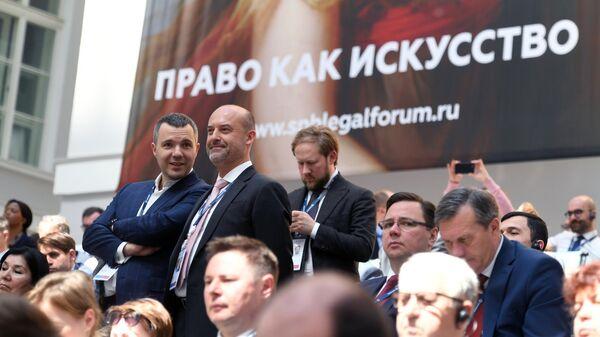 Участники пленарного заседания Право как искусство в рамках IX Петербургского международного юридического форума в Санкт-Петербурге