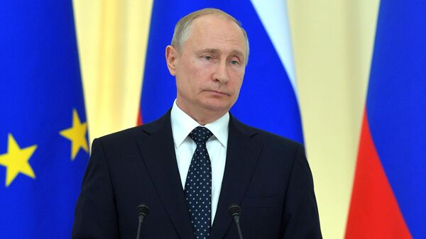 Президент РФ Владимир Путин на совместной с федеральным президентом Австрийской Республики Александром Ван дер Белленом пресс-конференции