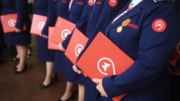 Участники церемонии открытия парада поездов Московского метро