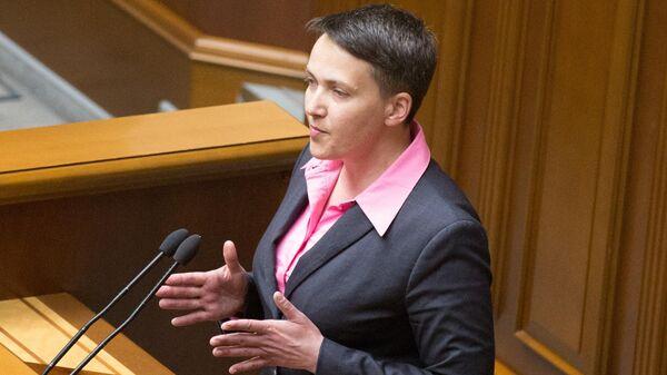 Депутат Верховной рады Украины Надежда Савченко выступает на заседании Верховной рады Украины