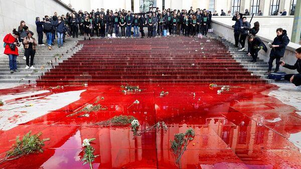 Парижскую площадь Трокадеро залили кровью